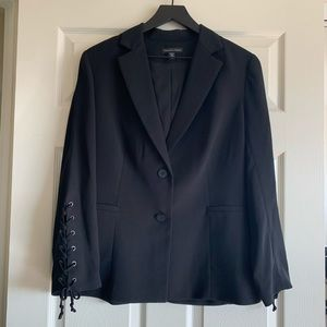 Saks Fifth Avenue Black Lace up sleeve Blazer